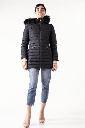 PIQUE Kadın Lacivert Kürklü Uzun Şişme Mont