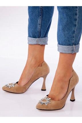 ayakkabıhavuzu Kadın Vizon Süet Topuklu Ayakkabı
