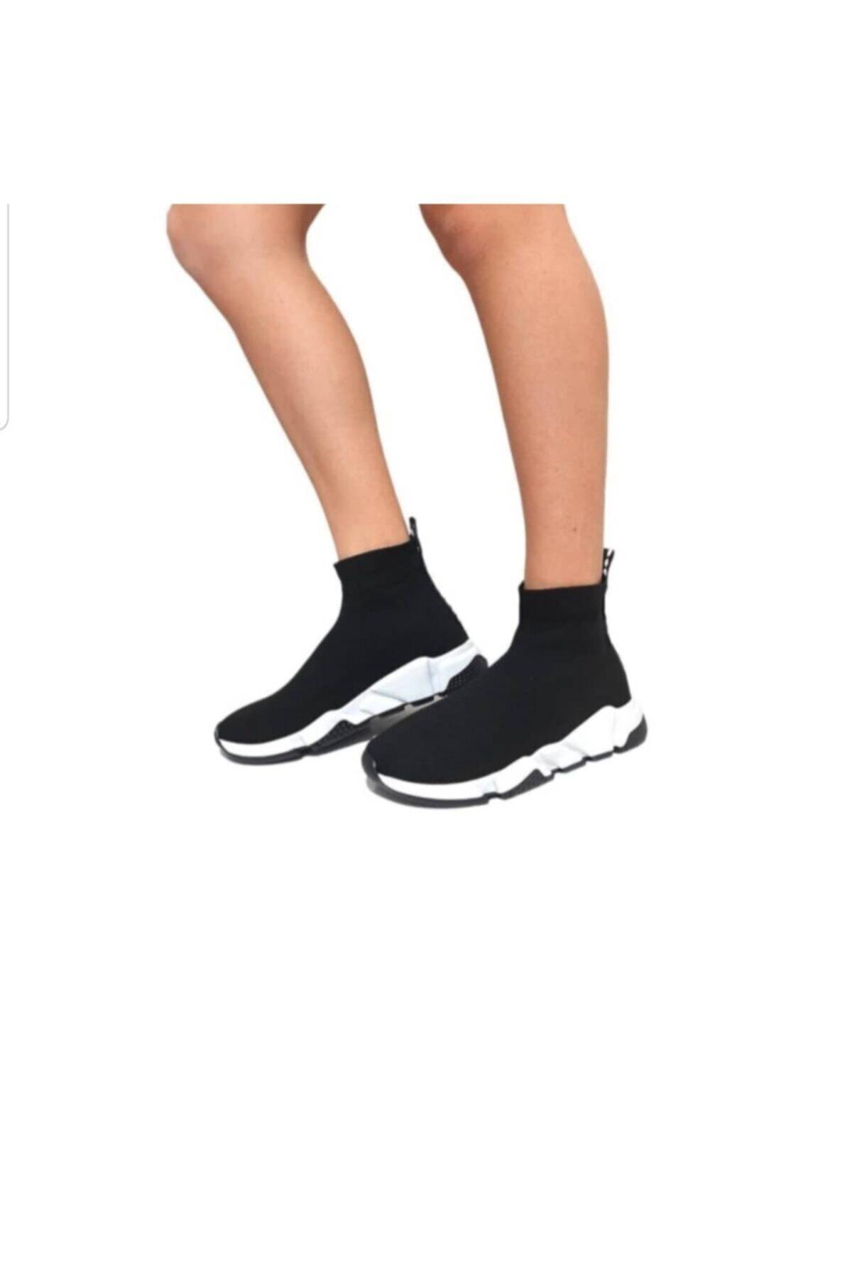 MİRKET Kadın Siyah Filito Çoraplı Yüksek Taban Sneakers Ayakkabı 1