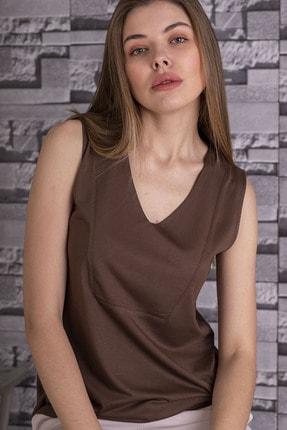 STAMINA Kadın Kahverengi V Yaka Kolsuz Bluz - 5vs07