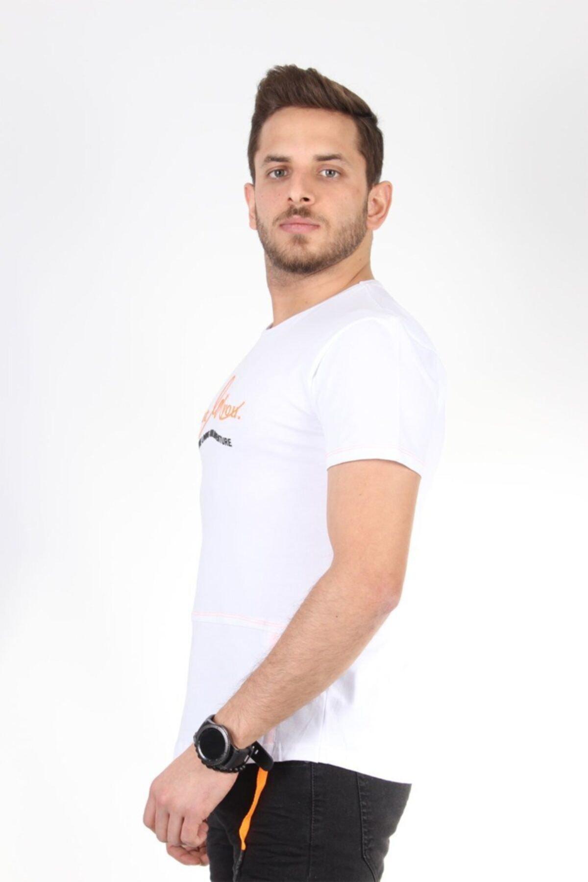 TREND YAŞAR Beyaz Yuvarlak Yaka Yazılı Ip Detaylı T-shirt 2