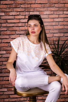 STAMINA Kadın Beyaz Bisiklet Yaka Leopar Desenli Kısa Kol Bluz - 5sp02