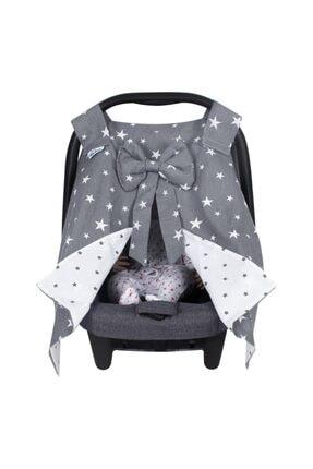 Sevi Bebe Fiyonklu Ana Kucağı Örtüsü Art-204 Gri Yıldız