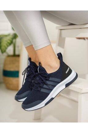 TUGGON Unisex Lacivert Tam Ortopedik Triko Spor Sneaker Ayakkabı