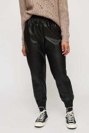 Nisan Triko Kadın Siyah Suni Deri Pantalon Lastikli