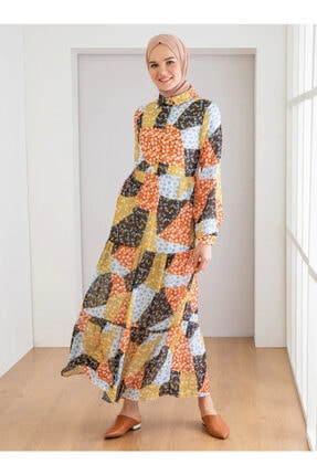 Loreen Kadın Sarı Çiçek Desenli Elbise