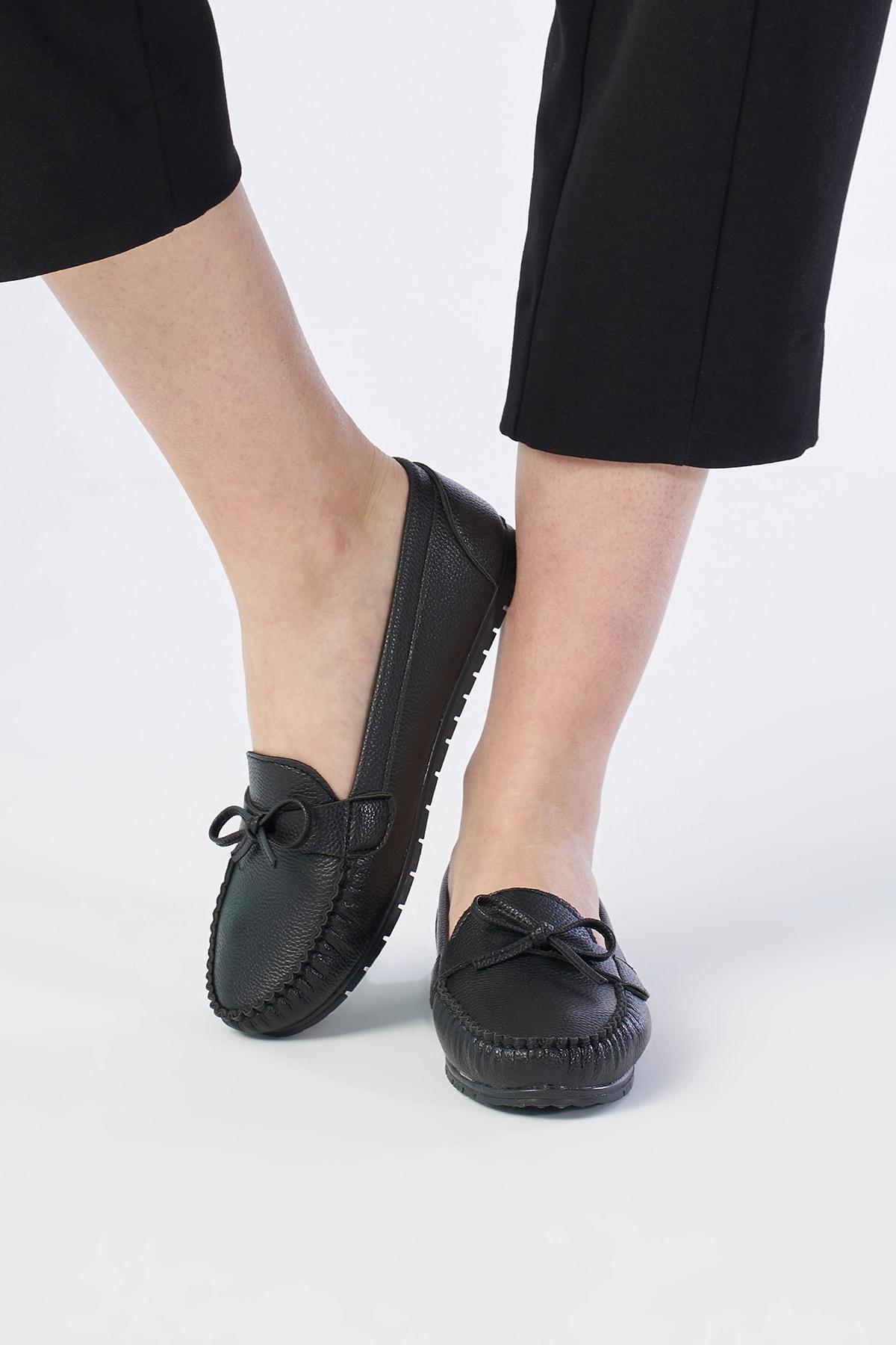 OCT Shoes Siyah Kadın Fiyonk Babet TS1024 2