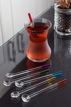 Planet X 6 Adet Renkli Lüx Cam Çay Kaşığı