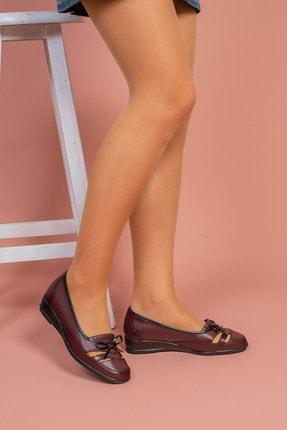 Ayakkabı Bahçesi Bordo Yazlık Tam Ortopedik Deri Taban Babet Anne Ayakkabısı