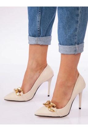 ayakkabıhavuzu Kadın Bej Tokalı İnce Topuklu Ayakkabı