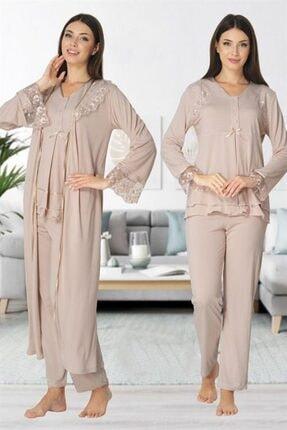 Lohussa Effort Vizon Dantel Detaylı Uzun Kollu Sabahlıklı Hamile Lohusa Pijama Takımı
