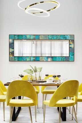 bluecape Valensiya Doğal Ağaç  Çerçeveli Antik Limra Taş Kaplı Salon Duvar Konsol Boy Aynası 62x152 Cm