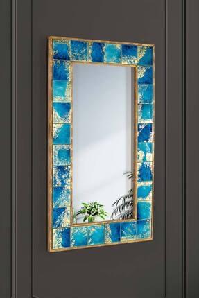 bluecape Napoli Doğal Ağaç Çerçeveli El Yapımı Çini Seramik Kaplı Salon Duvar Konsol Boy Aynası 62x100 Cm