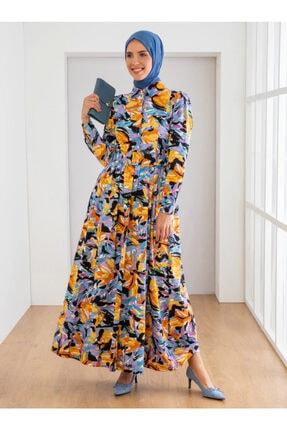 Loreen Kadın Sarı Desenli Elbise