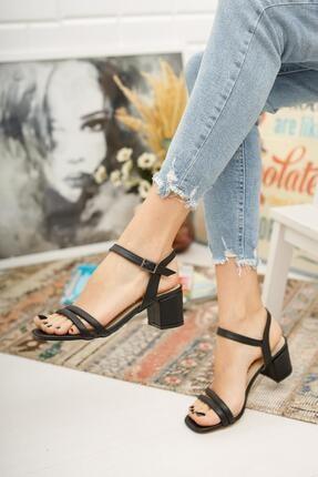 MUGGO Kadın Siyah Topuklu Ayakkabı