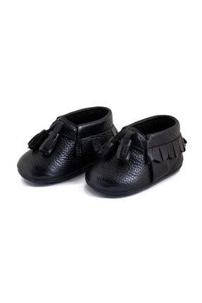 Pati Junior %100 Hakiki Deri Siyah Ponponlu Bebek Patik