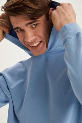 DeFacto Erkek Mavi Oversize Fit Yıkama Efektli Kapüşonlu Sweatshirt