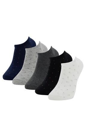 DeFacto Siyah Desenli 5'li Patik Çorap