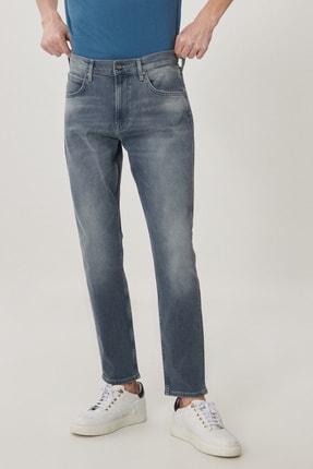 Lee Austin Erkek Açık Gri Straight Fit Normal Bel Düz Paça Esnek Jean Pantolon