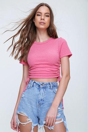 Trend Alaçatı Stili Kadın Pembe Yanı Büzgülü Kaşkorse Bluz ALC-X6078
