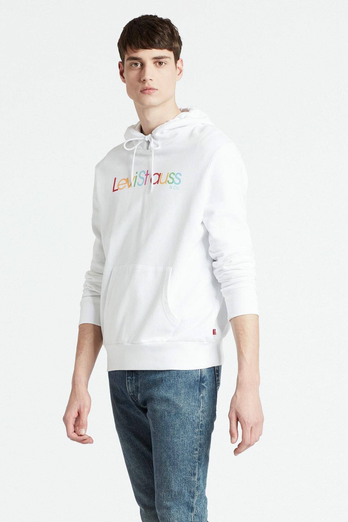 Levi's Erkek Beyaz Kapüşonlu  Sweatshirt 19622-0069 1