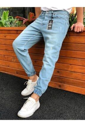 MCM Shopping Erkek Buz Mavi Paçası Lastikli Likralı Kot Pantolon