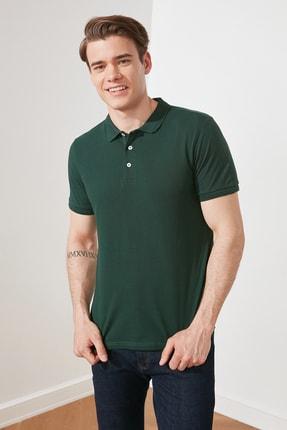 TRENDYOL MAN Zümrüt Yeşili Erkek Slim Fit Yakası Jakarlı Polo Yaka T-Shirt TMNSS20PO0009