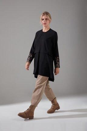 Mizalle Kolları Desenli Bluz (SİYAH)