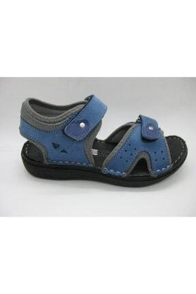 Toddler 01406 Spor Doğal Deri Mavi Sandalet 31-35
