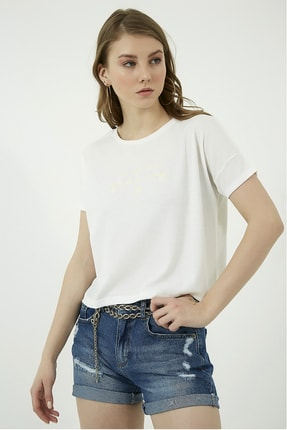 Vis a Vis Yazı Baskılı Kısa Tshirt - Beyaz