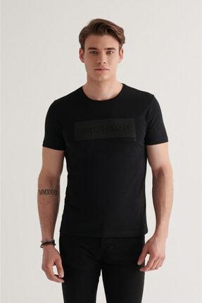Avva Erkek Siyah Bisiklet Yaka Baskılı T-shirt A11y1021
