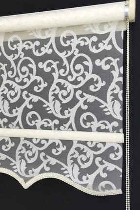 Tengo Çift Mekanizma 80X200 Ece Kırık Beyaz Etekli Tül Stor Perde