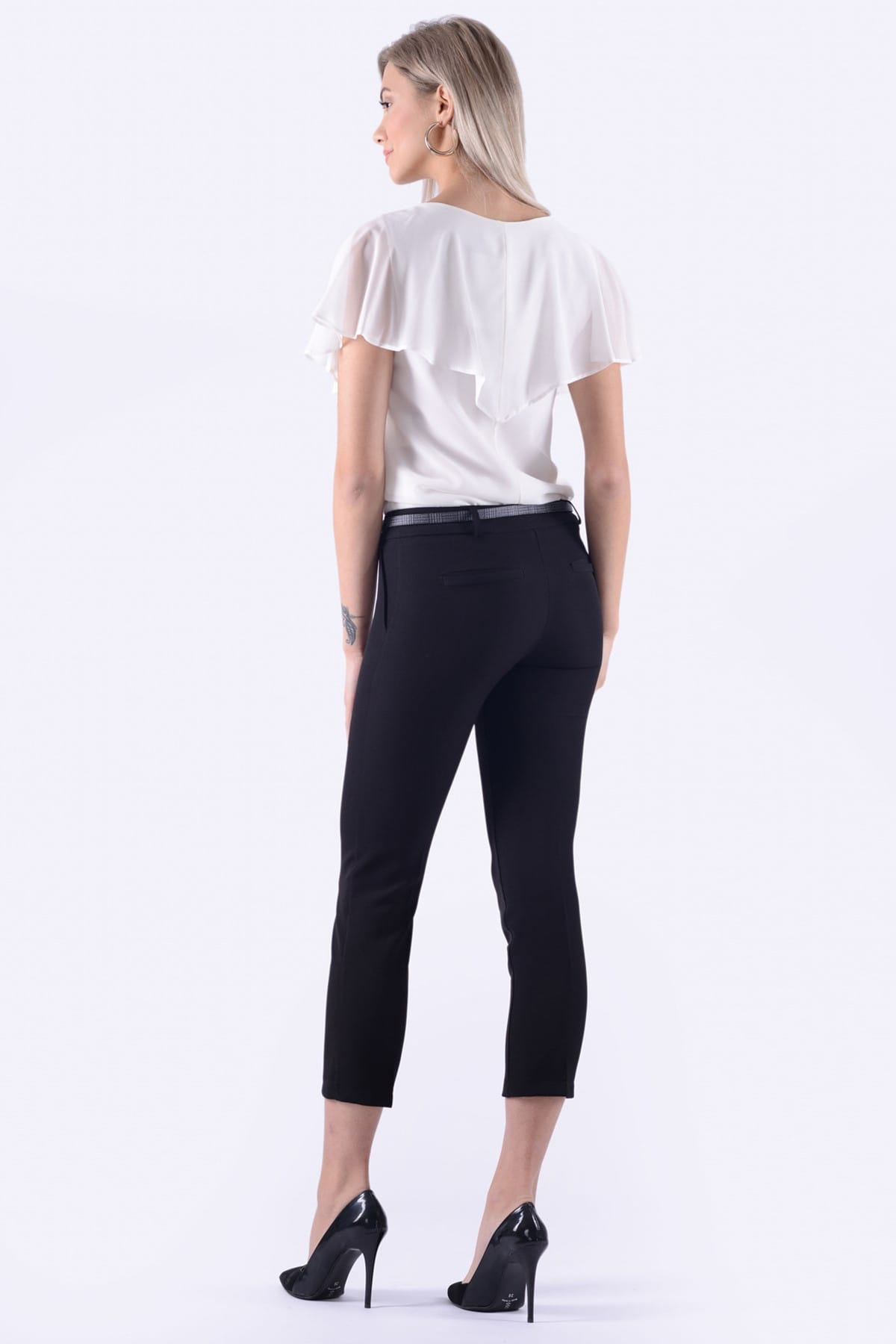 İroni Kadın Siyah Dar Paça Kumaş Pantolon 1581-891K 2