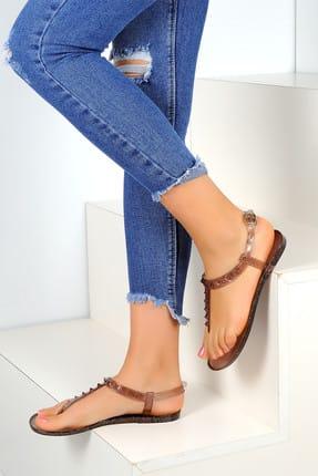 Pembe Potin Siyah Kadın Sandalet A1605-17