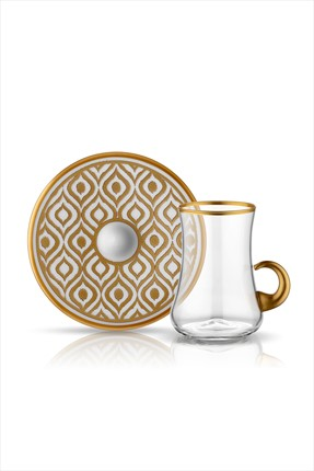 Koleksiyon1 6'lı Dervish Kulplu Çay Seti Ikat Altın 31000040303
