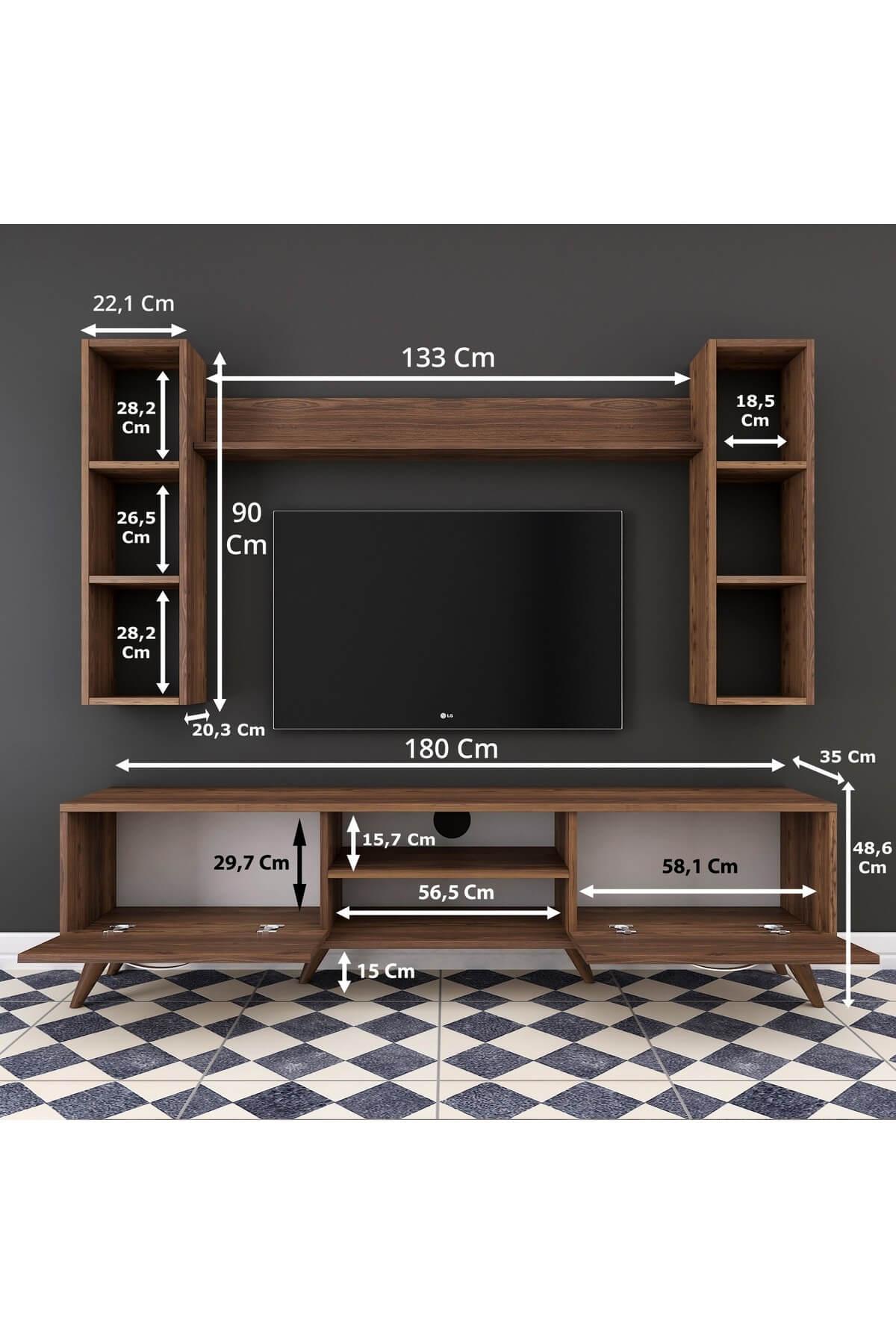 Rani Mobilya A9 Duvar Raflı Kitaplıklı Tv Ünitesi Duvara Monte Dolaplı Modern Ayaklı Tv Sehpası Ceviz M5 2