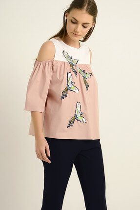 SERPİL Kadın Kuş Nakışlı Bluz 18Y0227815