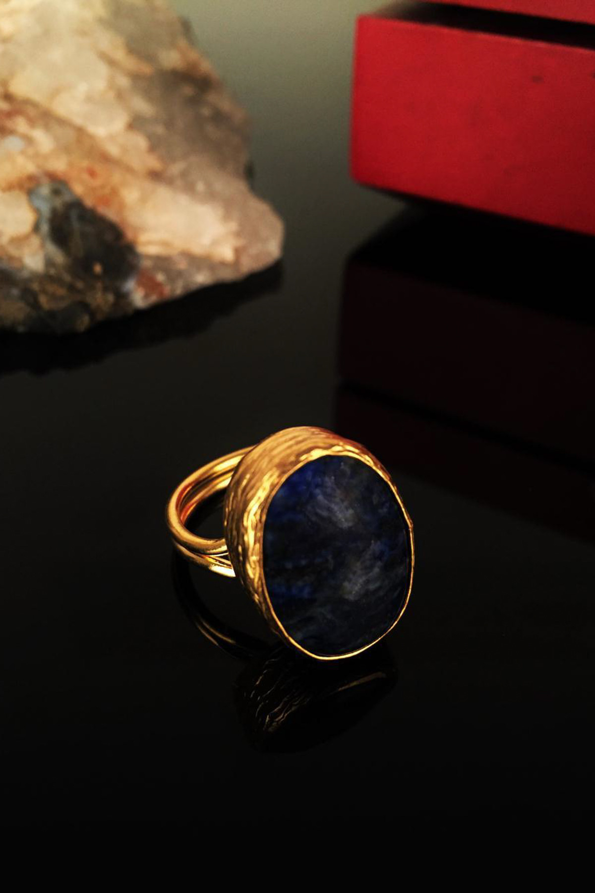 Dr. Stone Kadın Doğaltaş Lapis Lazuli Taşı Gold Kaplama Yüzük Krb140 1