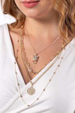 Modex Kadın Altın Sarısı Çoklu Madalyon Kolye K8144