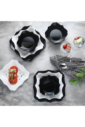 Schafer Berliner Siyah Beyaz Cam 24 Parça Yemek Takımı
