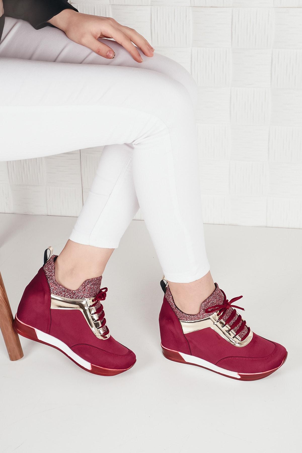 Weynes Kadın Bordo Simli Yüksek Taban Gizli Topuk Spor Ayakkabı Ba20260 1