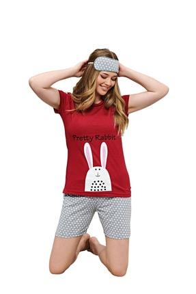 walkie Pretty Rabbit Kırmızı Kadın Şortlu Pijama Takımı
