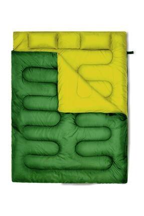 DFT Erciyes Outdoor Çift Kişilik (190+30)x140cm Yeşil -10° Uyku Tulumu Yastıklı