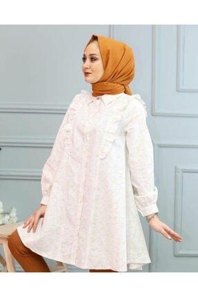 lamelif store Kadın Beyaz Lamelif Yaka Detaylı Gömlek