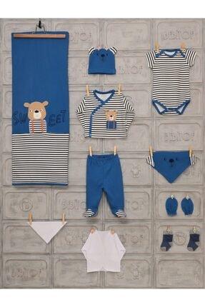 Bebitof Erkek Bebek Mavi Uzun Kol Tatlı Ayıcık Baskılı 10'lu Hastane Çıkışı
