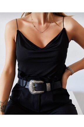 Somut istanbul Kadın Siyah Degaje Yaka Askılı Bluz