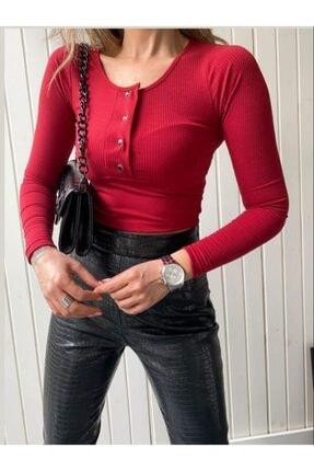 NİCE Bordo Çıtçıt Detaylı Crop Bluz