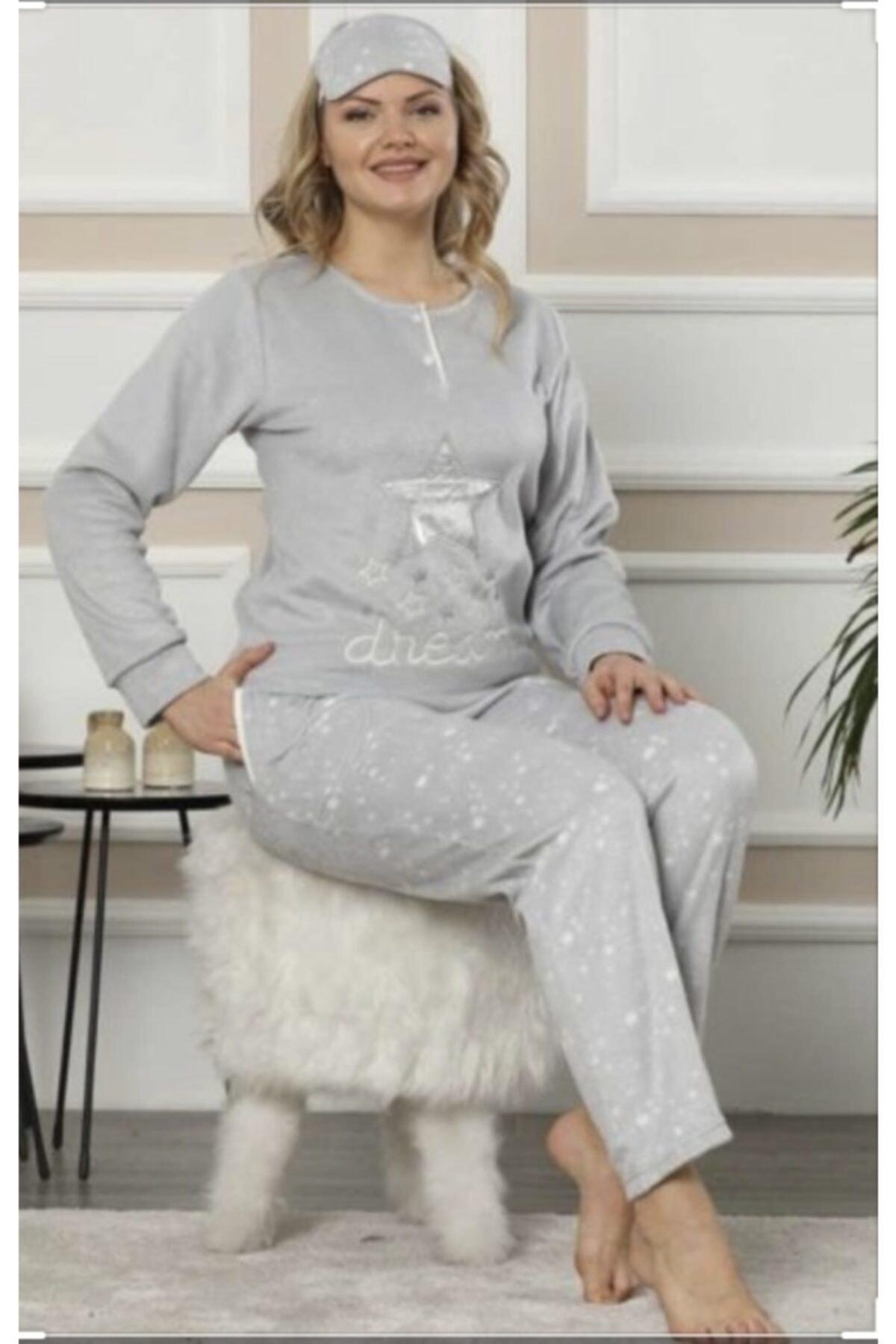 Pijamoni Kadın Gri Polar Pijama Takımı 1