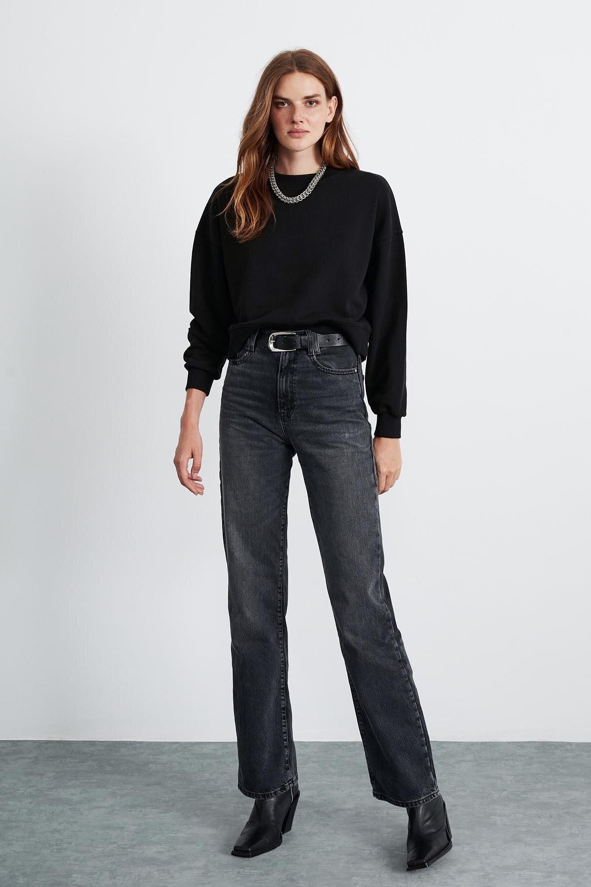 GRIMELANGE ELIZABETH Kadın Siyah  Basic Sweatshirt 2