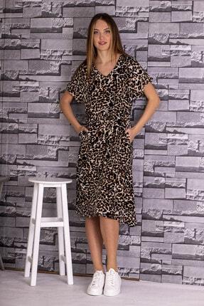 STAMINA Kadın Bej V Yaka Leopar Desenli Kısa Kol Beli Bağcıklı Elbise-5el13